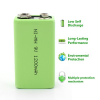 9V 1200mAh Ni-MH rechargeable battery